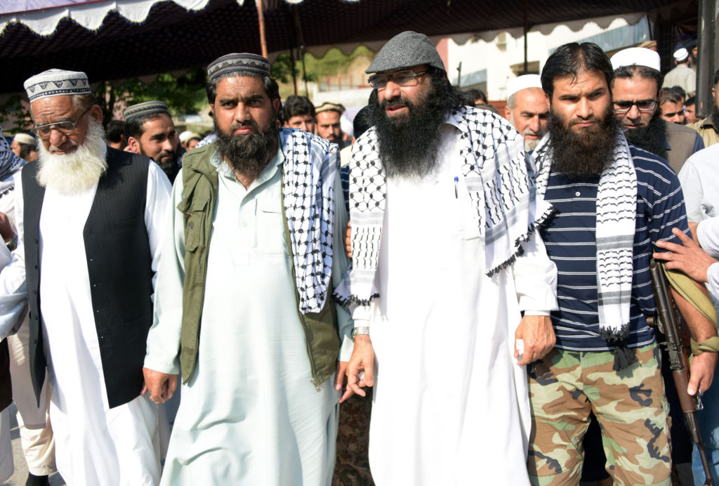 The State Department blacklisted Mohammad Yusuf Shah (known as Syed Salahuddin), (2nd from right), the leader of the Hizbul Mujahideen terrorist group