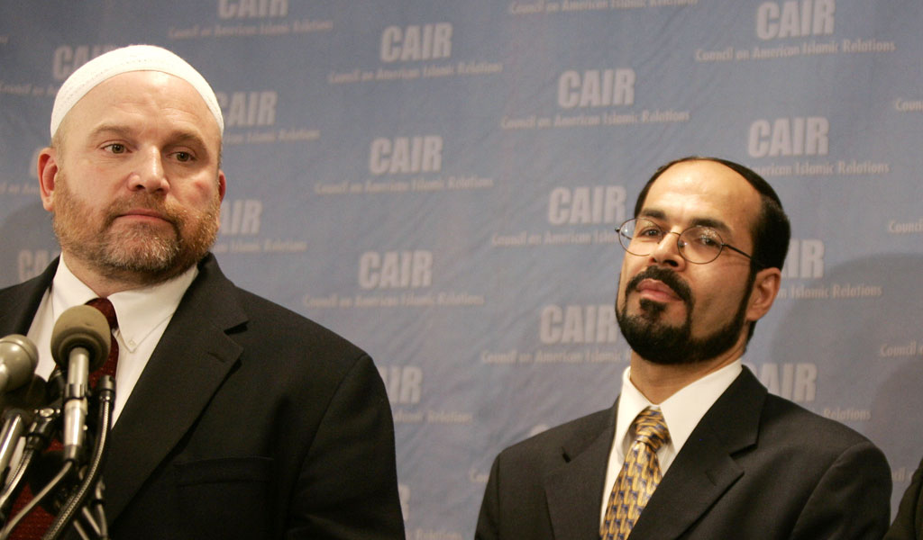 CAIR's national communications director and spokesperson Ibrahim Hooper (L) with founder and executive director Nihad Awad