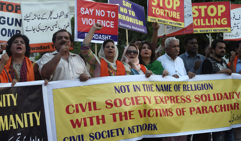 Pakistanis in Lahore protest against the terror that has wracked the city.
