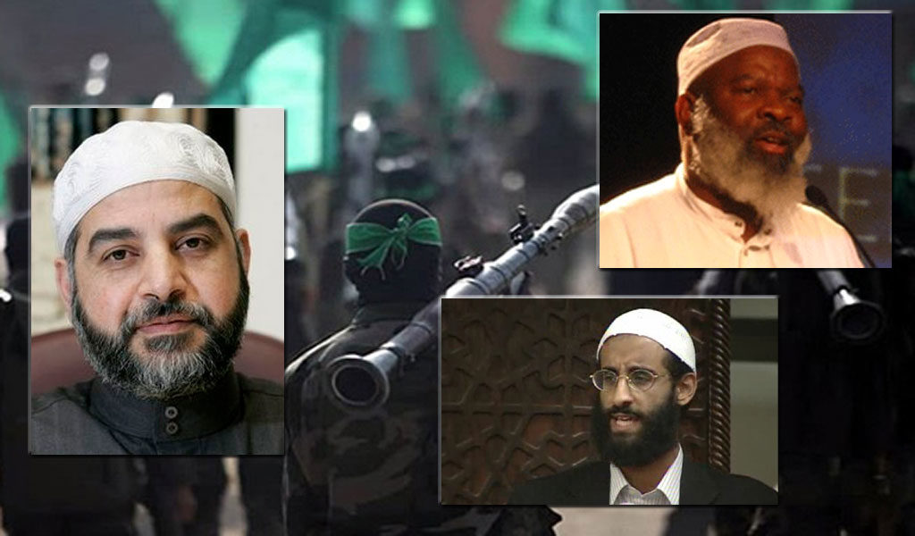 (Inset photos: Mohammad Qatanani (left), Siraj Wahhaj (top right), Anwar al-Awlaki (bottom right); background: Hamas)