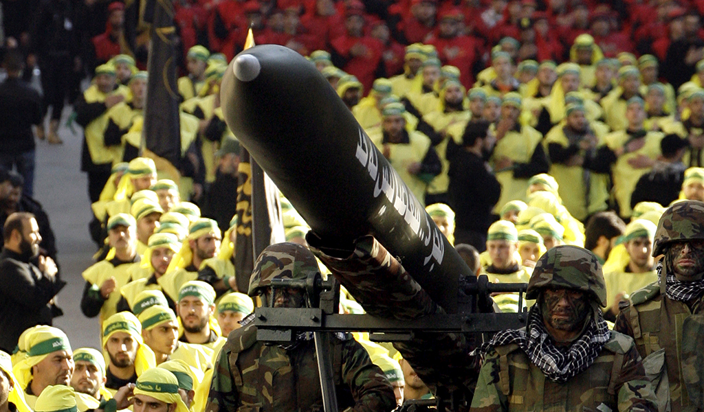 Hezbollah displays an Iranian-made Fajr 5 missile at a military parade in southern Lebanon, close to the Israeli border.