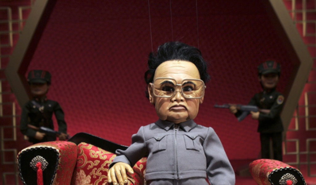 The late North Korean Leader Kim Jong Il (in puppet form).