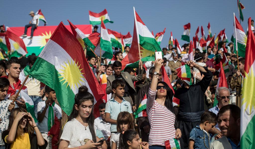 A rally for Kurdish independence in Erbil ahead of the Sept.25, 2017 referendum