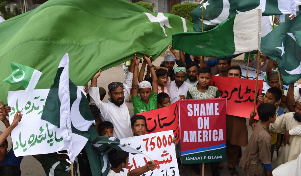 Jamaat-e-Islami political party protest against newly-announced US policy in Afghanistan