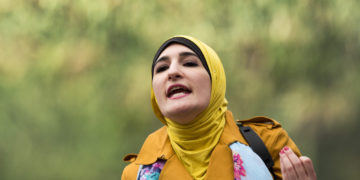 """Linda Sarsour speaks at a """"Women for Syria"""" rally in NY."""