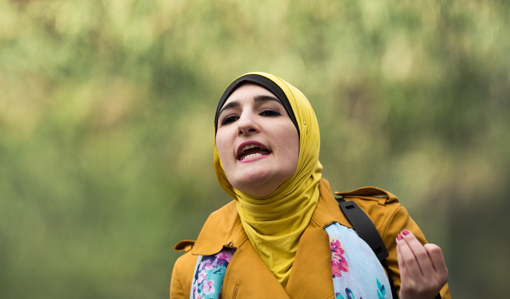 "Linda Sarsour speaks at a ""Women for Syria"" rally in NY."