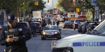 Police in the aftermath of the truck attack which killed eight in Manhattan on Tuesday October 31, 2017 (Photo: Kena Betancur/Getty Images)