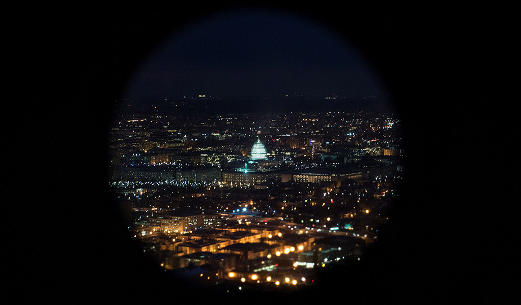 A helicopter view of the U.S. Capitol building on Capitol Hill in Washington, DC.