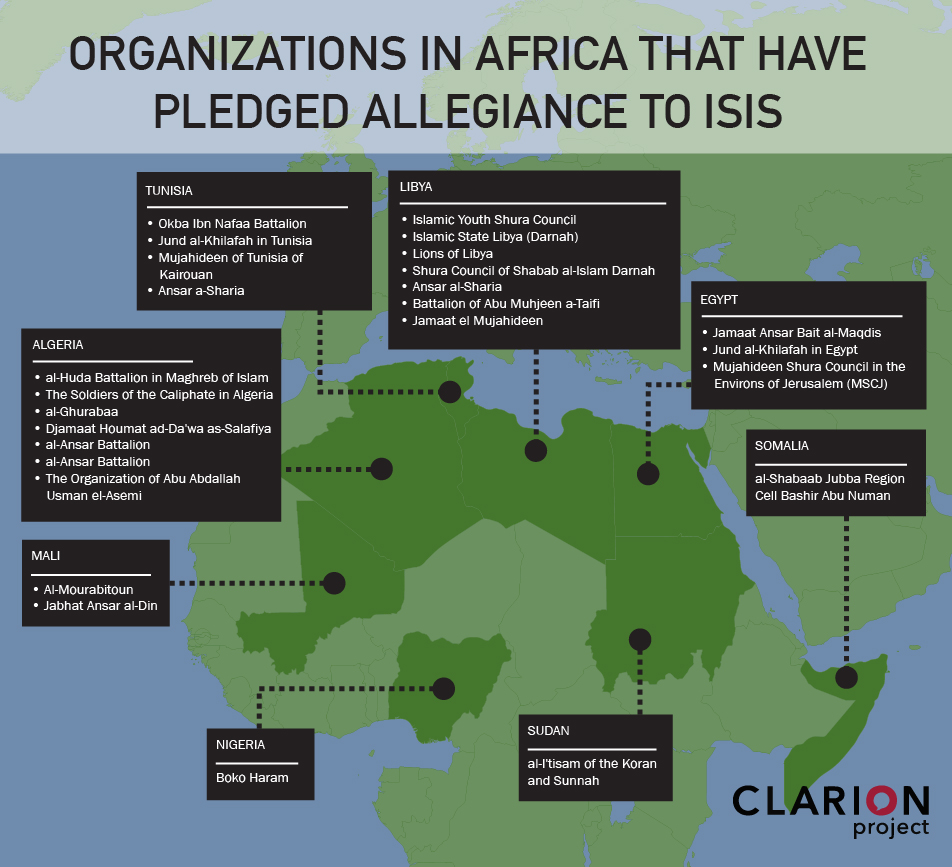 Terrorist organizations in Africa that have pledged allegiance to Islamic State (ISIS)