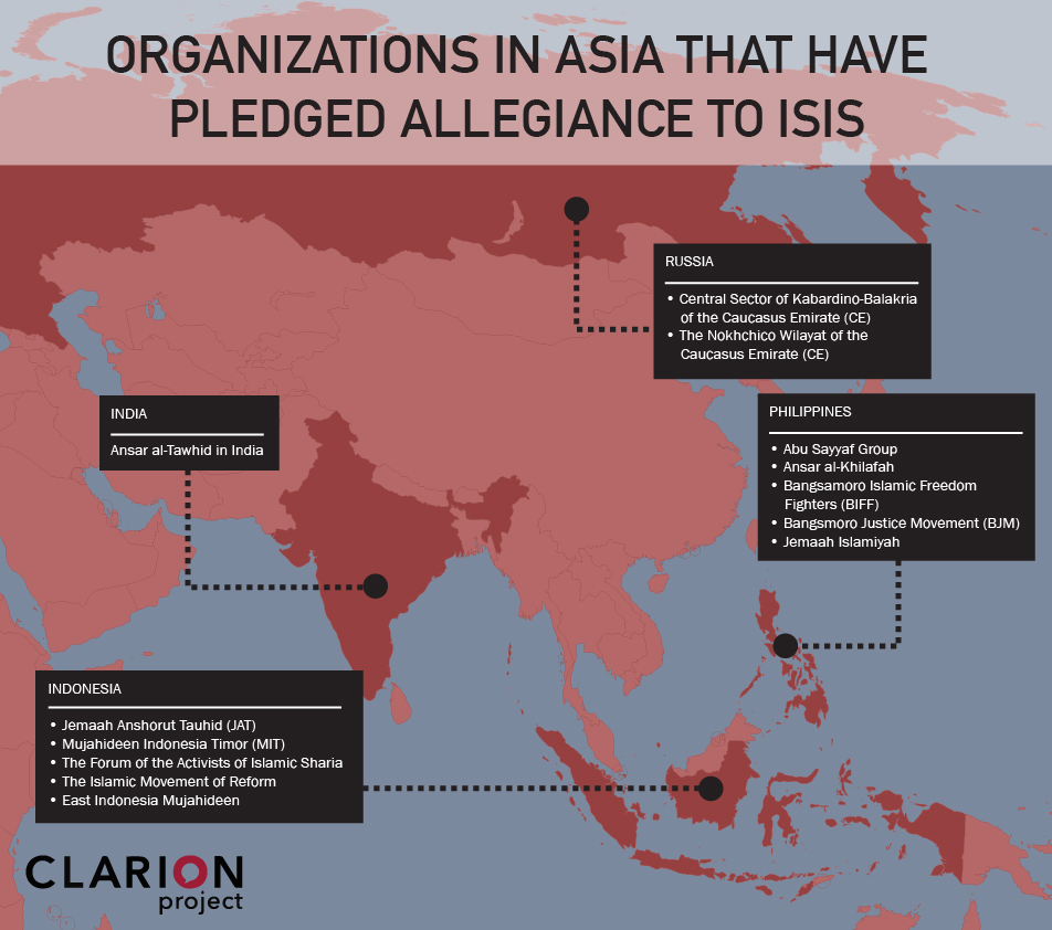 Terrorist organizations in Asia that have pledged allegiance to Islamic State (ISIS)