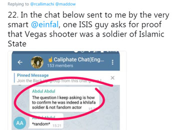 Private encrypted conversation between ISIS supporters questioning ISIS' claim that it was behind the attack in Las Vegas