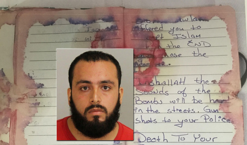 Inset: Bomber Ahmad Khan. After the shootout, police officers recovered a journal containing Islamist rhetoric and praise for known terrorist groups and ideologies.