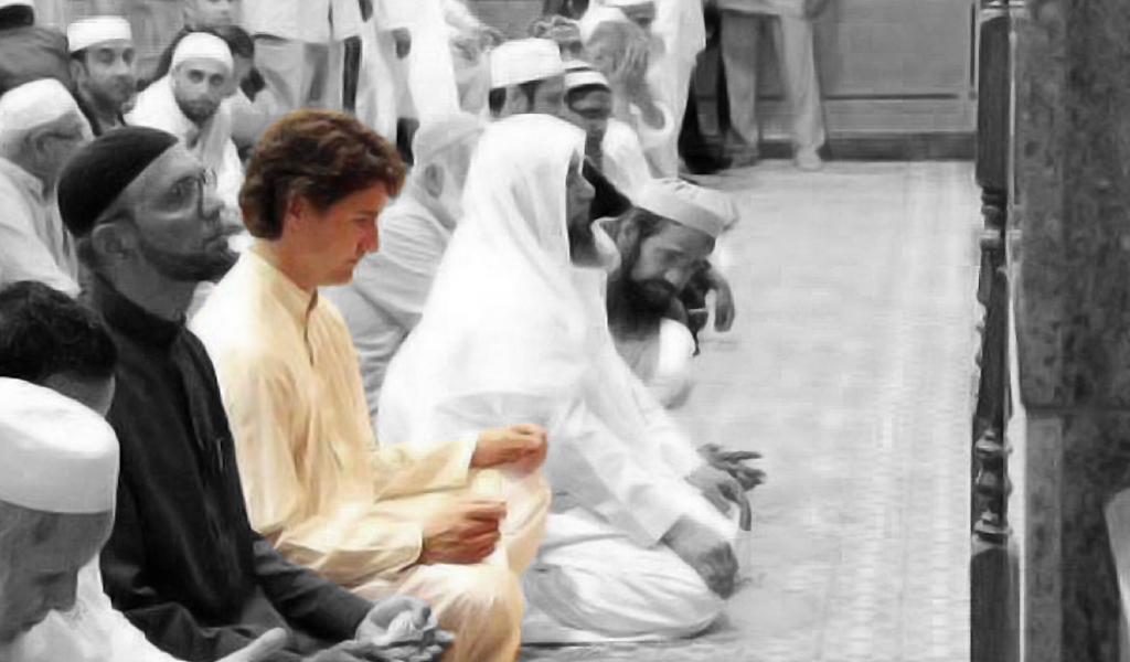 Canadian Prime Minster Justin Trudeau prays at the Jamea Masjid mosque in Surrey, British Columbia two years before he was elected. Trudeau has pandered to Islamists since he was elected.