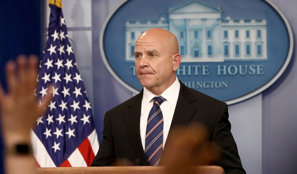 National Security Advisor H.R. McMaster answers questions during a press briefing at the White House