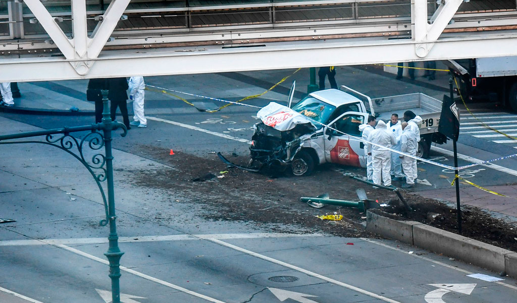 Aftermath of the truck attack which killed eight in Manhattan on Tuesday October 31, 2017