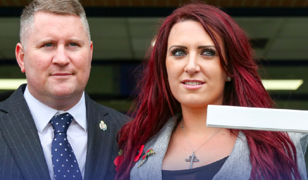Leader of Britain First Paul Golding (right) with deputy leader Jayda Fransen (left).