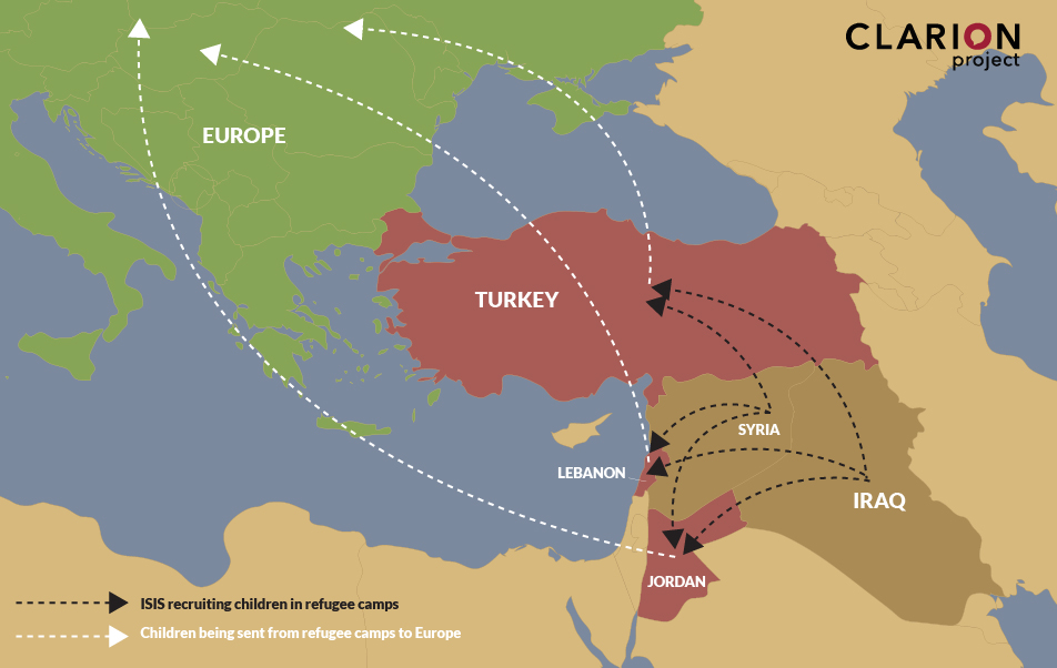 Map shows routes taken by children from iraq and Syria to the camps and on to Europe.