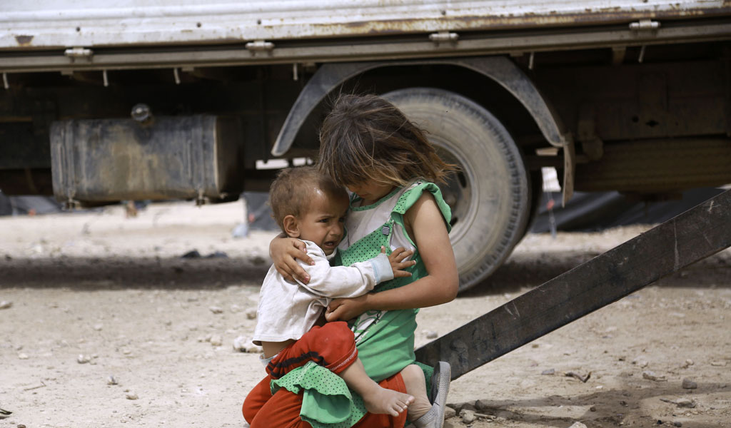 Children from Nineveh Province in a refugee camp in Iraq