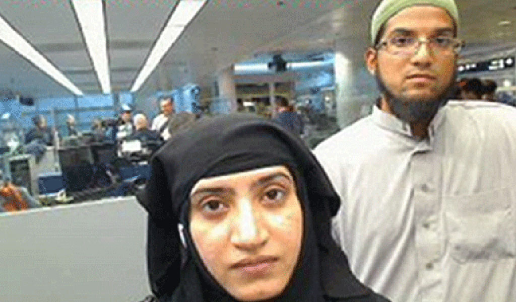 The San Bernardino attackers Syed Rizwan Farook and Tashfeen Malik. Malik's extremist social media posts were not part of the vetting process when she was allowed to enter the U.S.