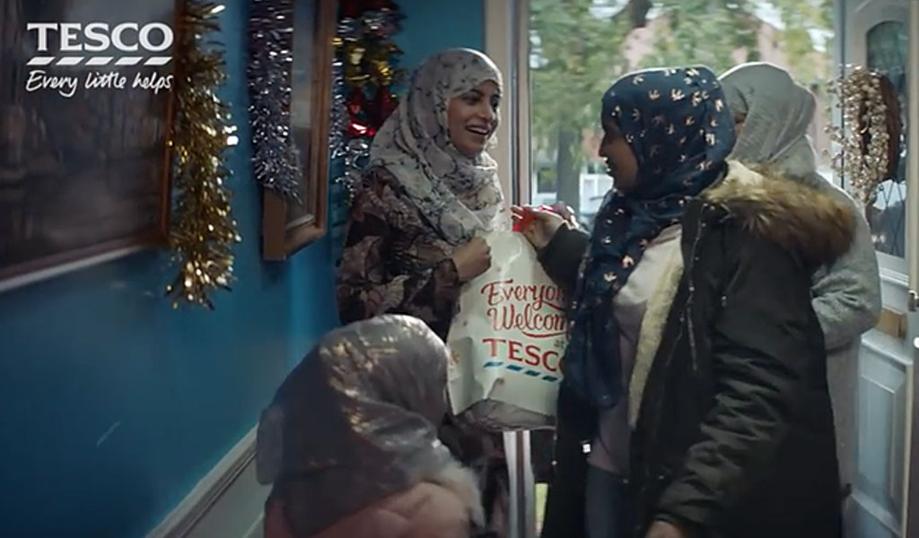 A frame from Tesco's 2017 Christmas ad