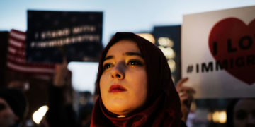 A rally for Muslims and immigrants in Manhattan