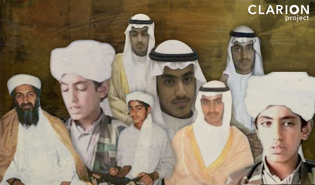 Hamza bin Laden with his father Osama front left.