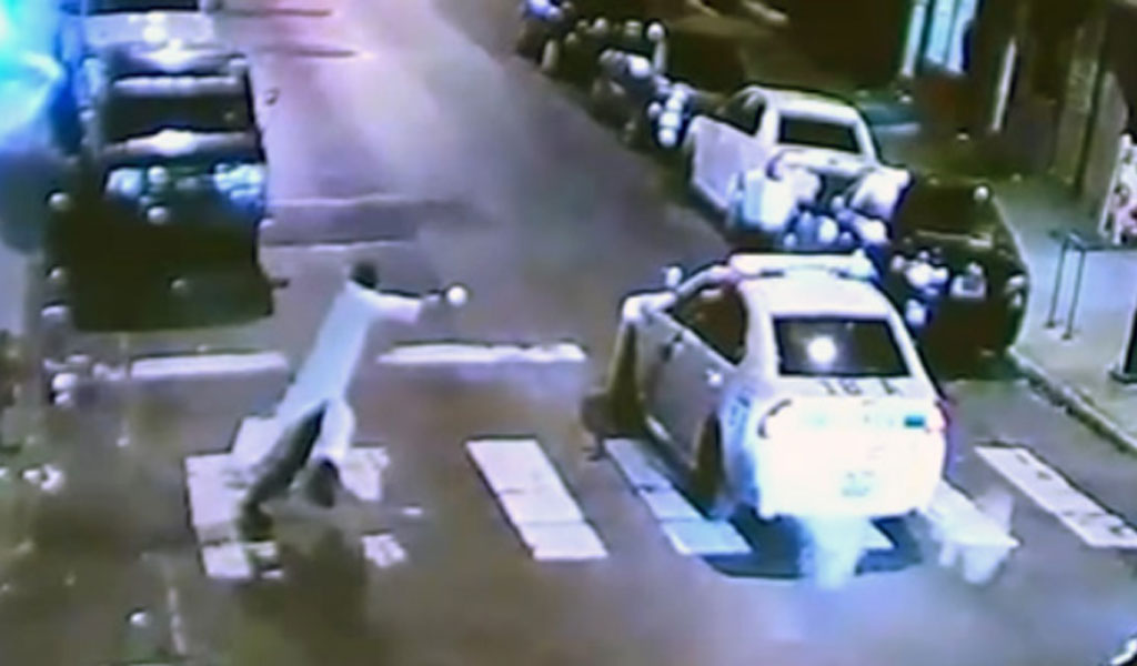 The shooting caught on CCTV footage