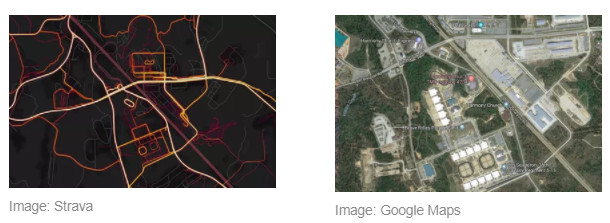 The heat map (left) showed movement at Fort Benning, Georgia as documented by theverge.com