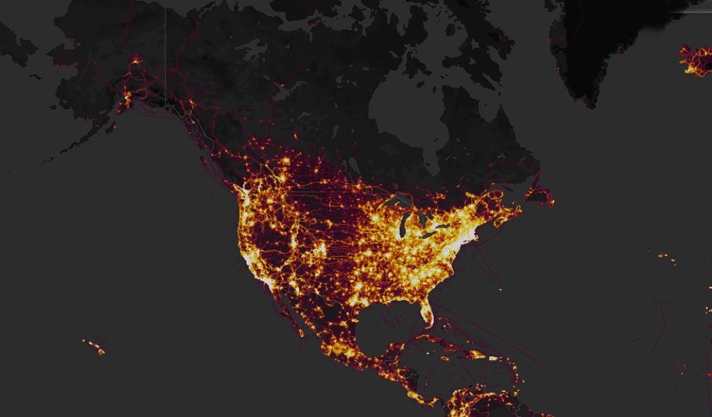 The United States as seen on Strava's heat map
