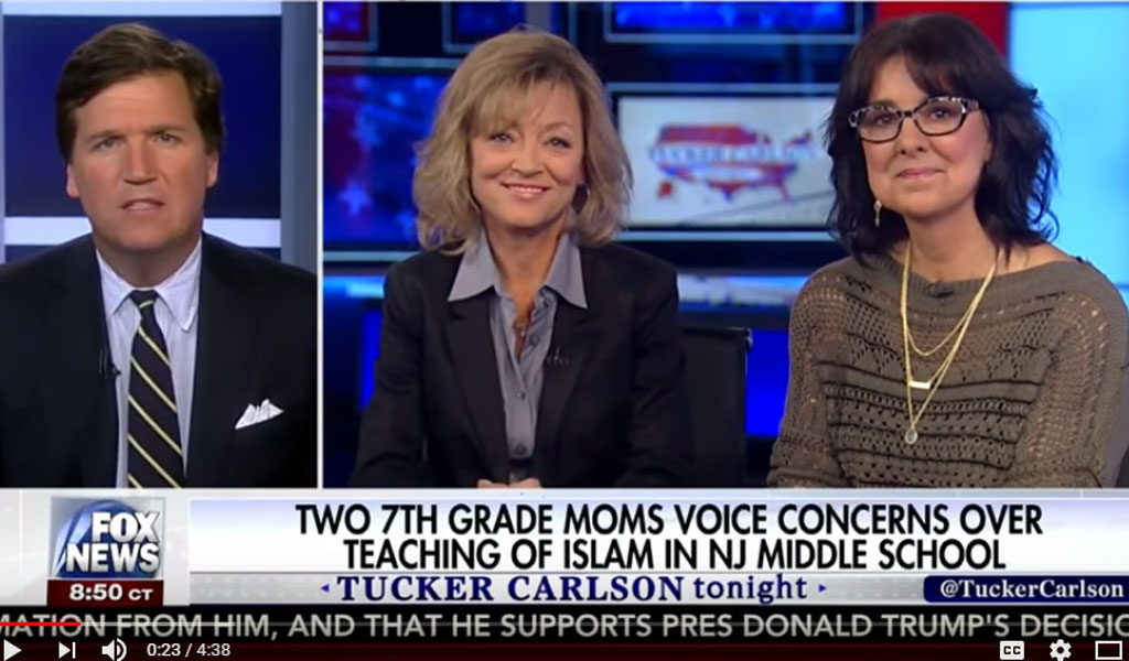 Libby Hilsenrath (L) and Nancy Gayer, two mothers who complained about the curriculum on the Tucker Carlson Show