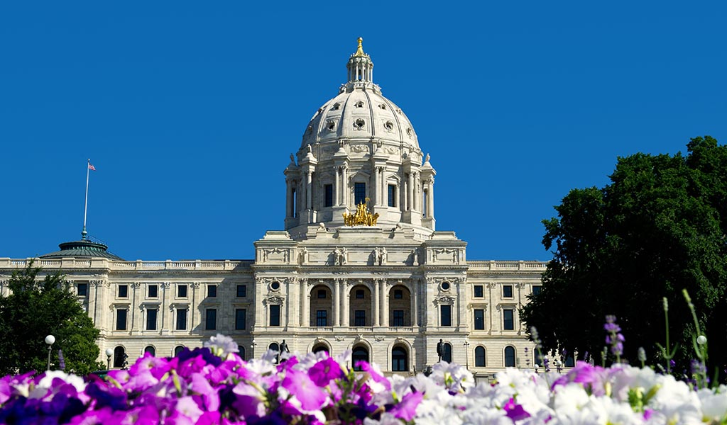 The state Capitol building of Minnesota in St. Paul.