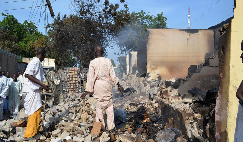 A previous attack by Boko Haram terrorists who burned down the homes of an entire village.