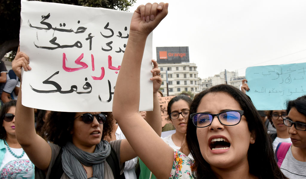 Women participate in a demonstration against sexual harassment in Morocco after a high-profile case shocked the nation
