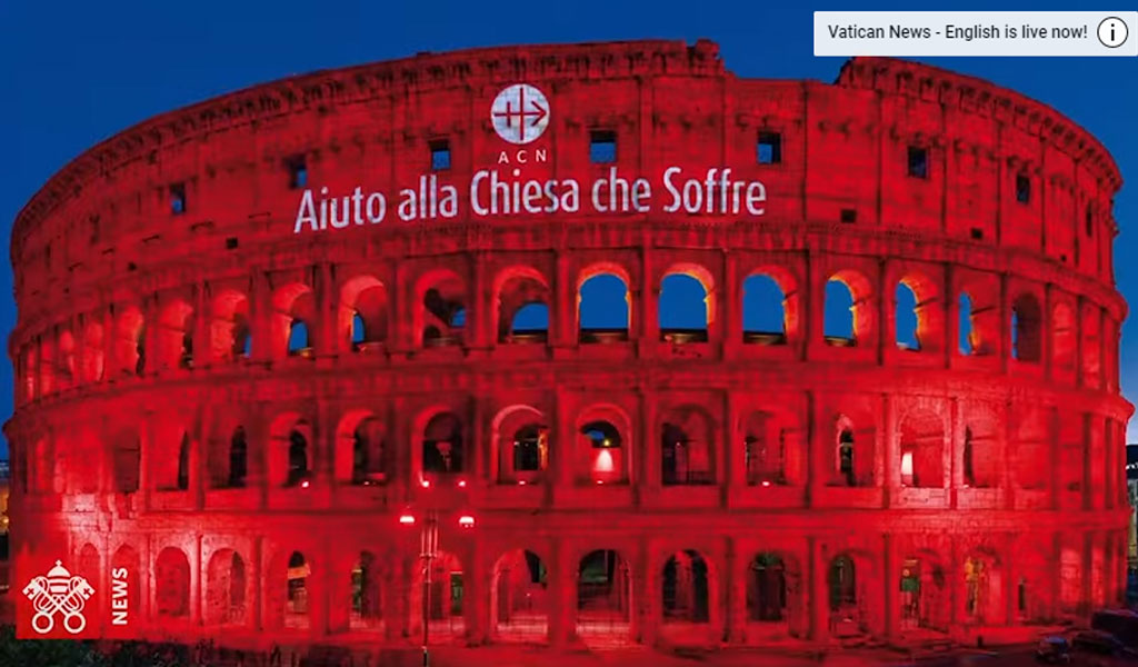 The landmark Colosseum in Rome lit in red in solidarity with those who have been persecuted for their faith