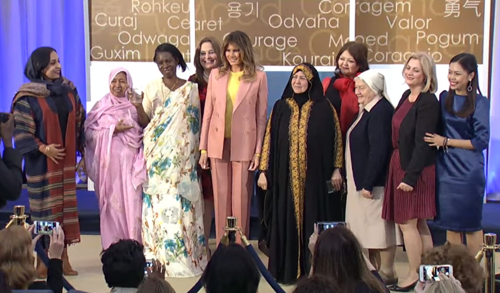 First Lady Melania Trump with the State Department's 2018 International Women of Courage awardees (Photo: State Department video)