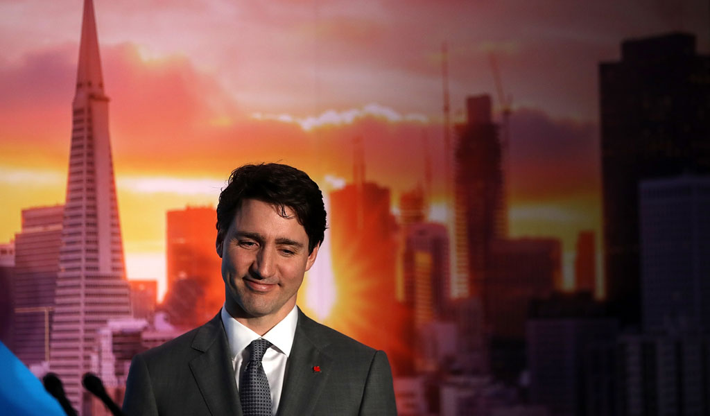 Canadian Prime Minister Justin Trudeau in San Francisco on a US tour (Photo: Justin Sullivan/Getty Images)