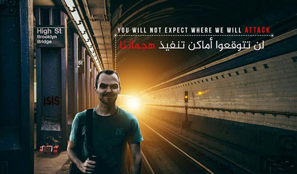 ISIS propaganda poster threatens an attack on the Brooklyn Bridge subway station in New York City