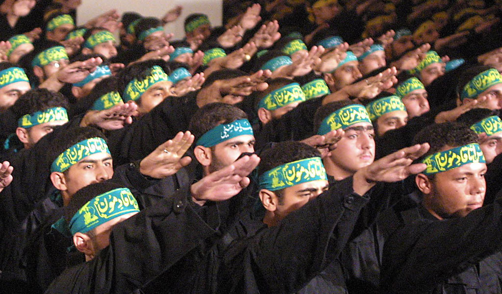 Hezbollah fighters at a graduation cermony on Martyr's Day in Beirut (Photo: SUHAILA SAHMARANI/AFP/Getty Images)