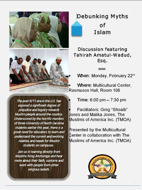 Poster of the event featuring Jones and Amatul-Wadud