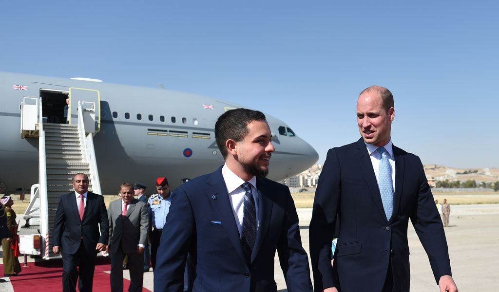 Prince William arrives in Jordan on the first leg of his Middle East tour (Photo: Joe Giddens-Pool/Getty Images)