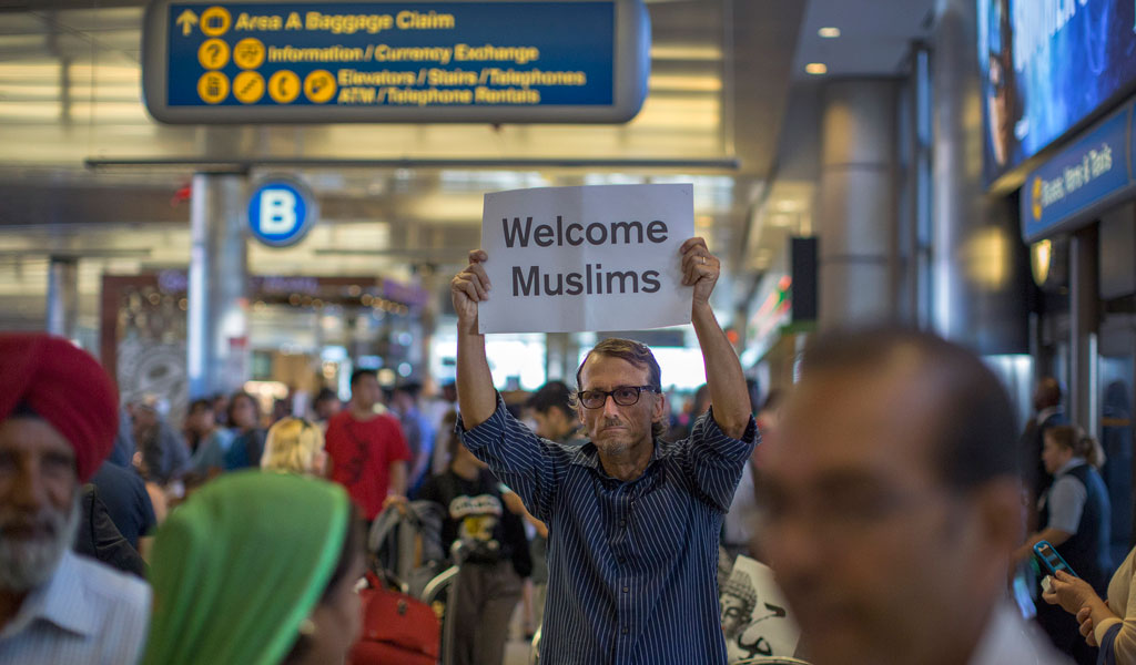 A sign at the Los Angeles airport. The Supreme Court ruled that President's Trump's immigration pause was not anti-Muslim (Photo: David McNew/Getty Images)