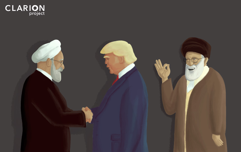 Iranian President Hassan Rouhani meets his American counterpart Donald Trump under the watchful gaze of Supreme Leader Ali Khamenei. (Image: Clarion Project)