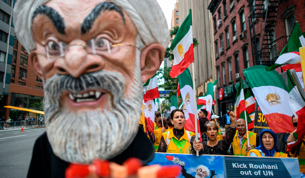 Demonstrators protest against Iranian President Hassan Rouhani near the United Nations headquarters in New York (Photo: JEWEL SAMAD/AFP/Getty Images)