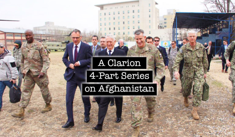 U.S. Defense Secretary General Jim Mattis (center) walks with U.S. General John Nicholson (center right) at during an unannounced visit to Kabul on March 13, 2018. Mattis flew into the war-torn city two weeks after Afghan President Ashraf Ghani unveiled a plan to open peace talks with the Taliban. (Photo: THOMAS WATKINS/AFP/Getty Images)