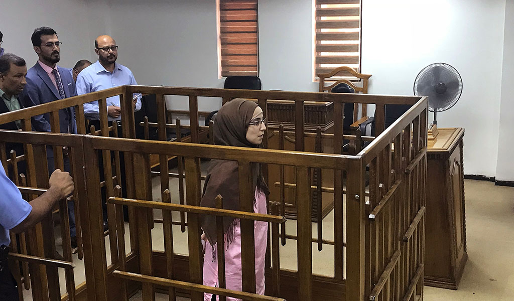 French jihadist Djamila Boutoutaou attends her trial at the Central Penal Court in Baghdad, on April 17, 2018. Boutoutaou, 29, was sentenced to life in prison for belonging to Islamic State. (Photo: AMMAR KARIM / AFP / Getty Images)