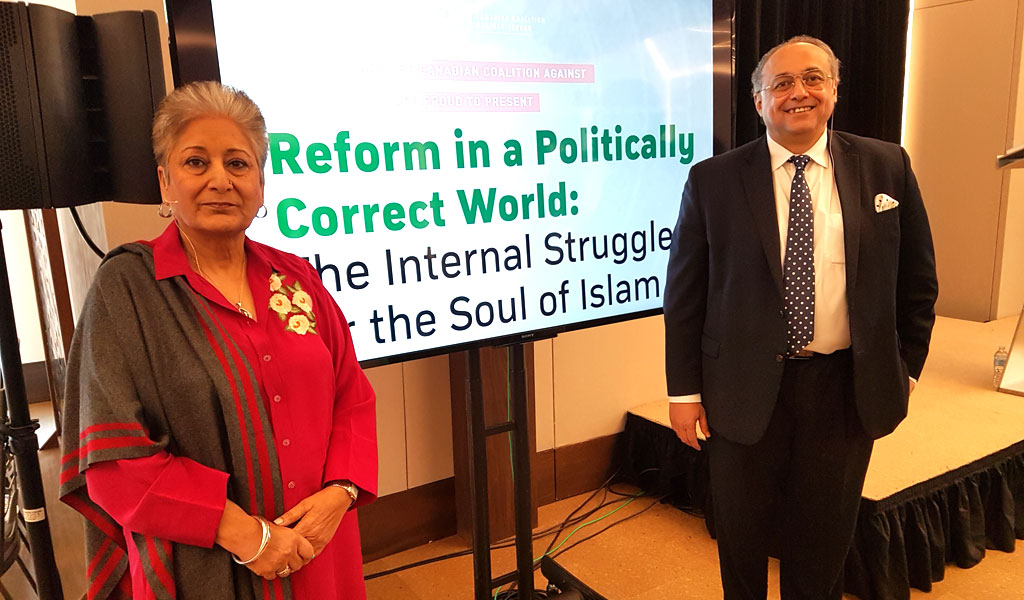 Raheel Raza with Dr. Tawfik Hamid at the Aspen meeting of progressive Muslims (Photo: Clarion Project)