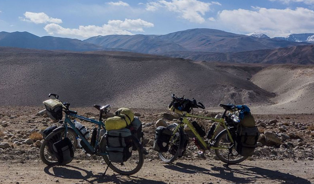 Bikes from a cycling tour in Tajikistan (Photo: Wikimedia Commons/Martin-DK/https://creativecommons.org/licenses/by-sa/4.0/legalcode)