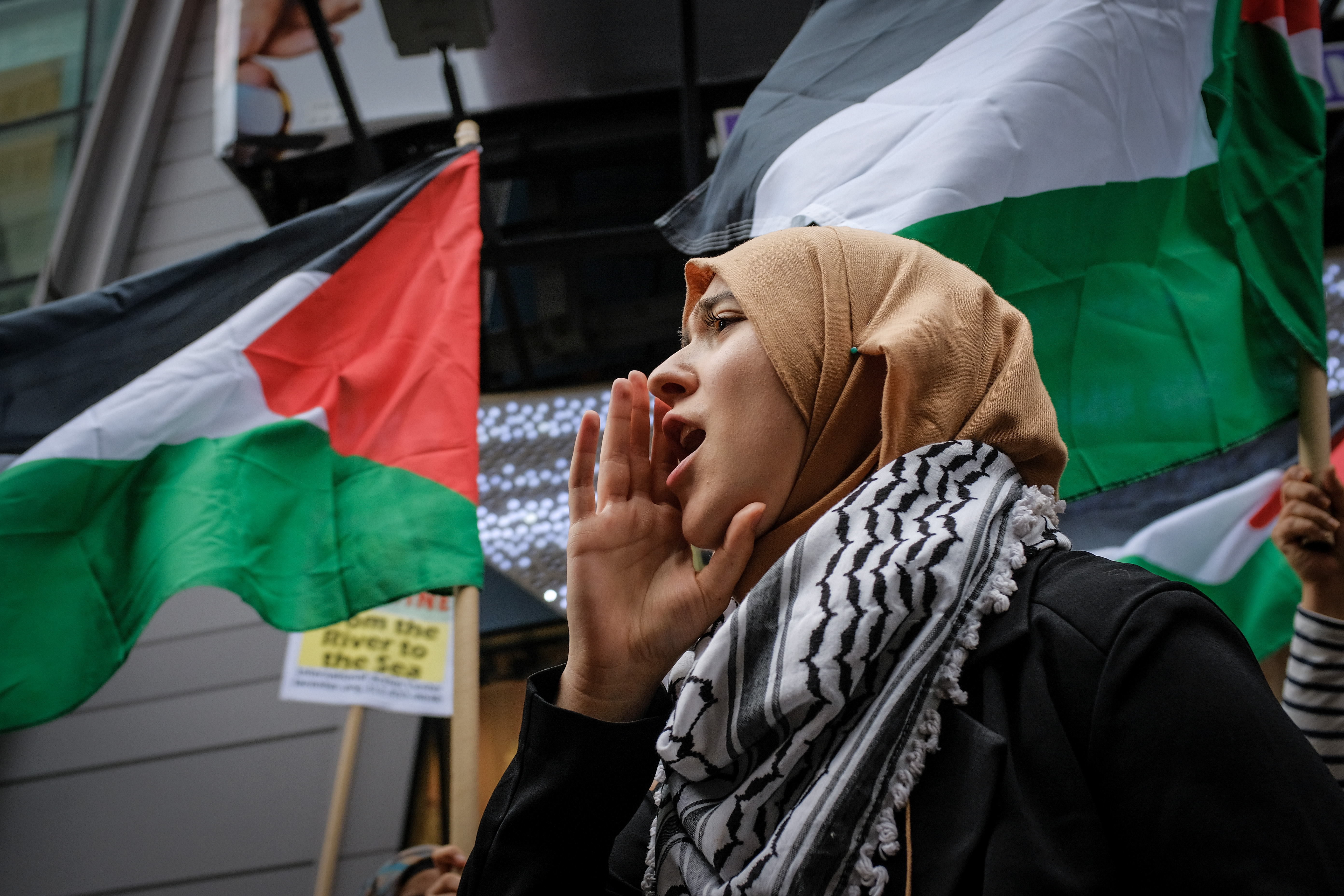 NEW YORK, NY: Members of the Palestinian community, fellow Muslims and their supporters rally in support of the Palestinian people during a rally in Times Square on May 18, 2018.