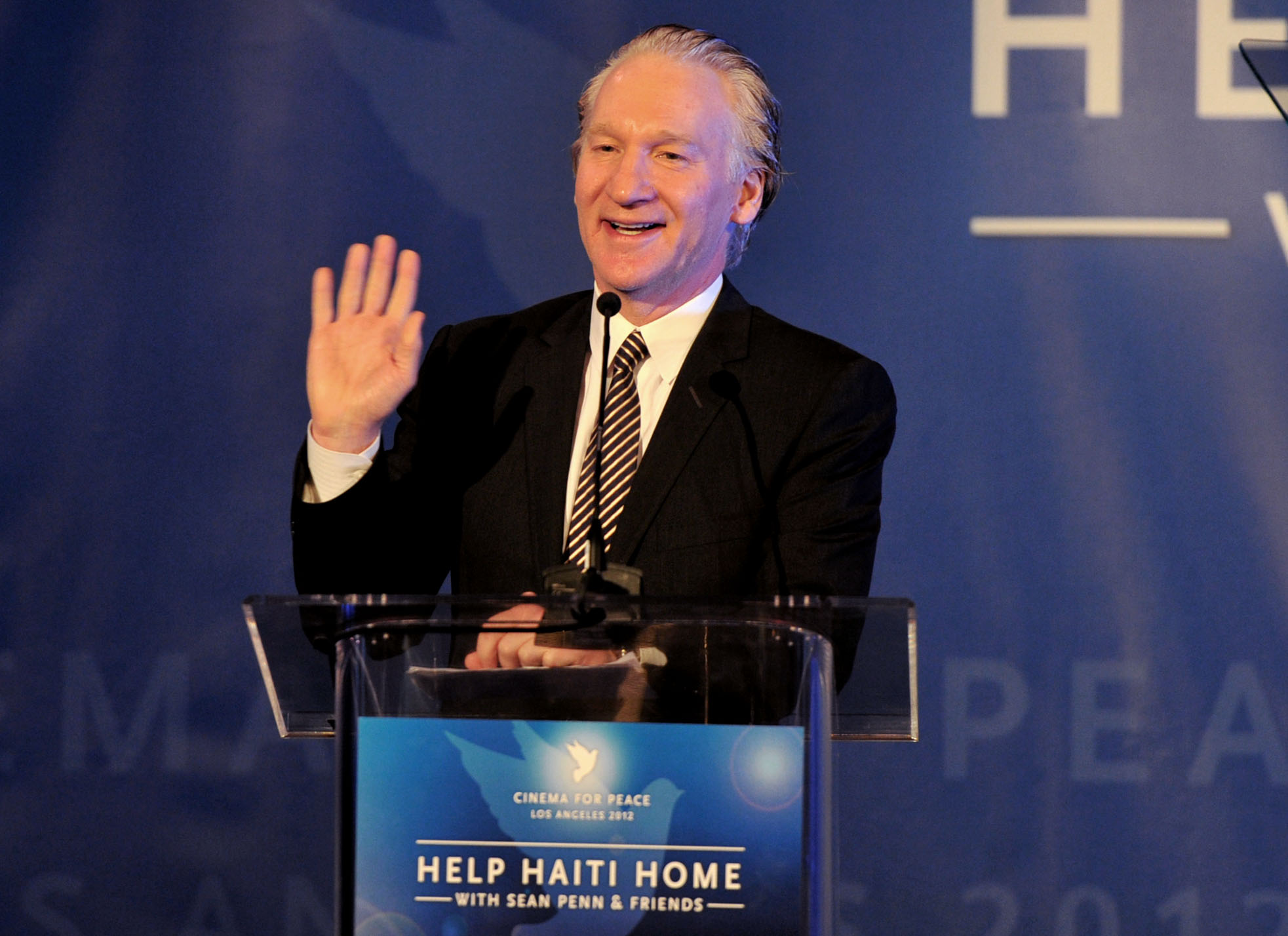 Host Bill Maher speaks onstage at the Cinema For Peace event benefitting J/P Haitian Relief Organization in Los Angeles held at Montage Hotel on January 14, 2012. (Photo: Alberto E. Rodriguez / Getty Images)