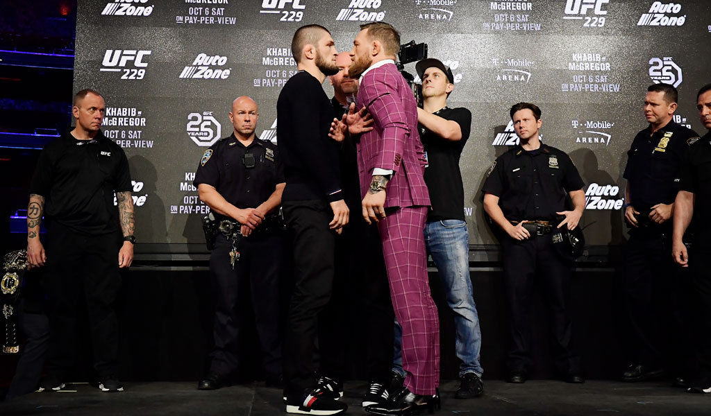 Khabib Nurmagomedov faces-off with Conor McGregor at a pre-fight press conference in September 2018 (Photo: Steven Ryan/Getty Images)